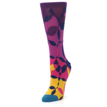 Image of Purple Gold Teal Overlapping Circles Women's Dress Socks (side-2-front-08)