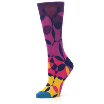 Image of Purple Gold Teal Overlapping Circles Women's Dress Socks (side-2-10)