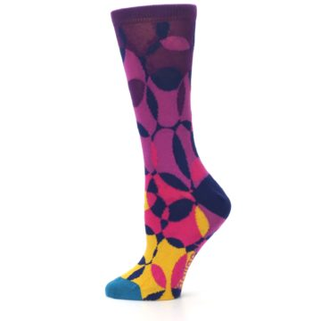 Image of Purple Gold Teal Overlapping Circles Women's Dress Socks (side-2-12)