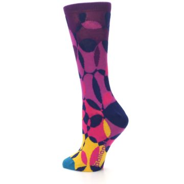 Image of Purple Gold Teal Overlapping Circles Women's Dress Socks (side-2-back-14)