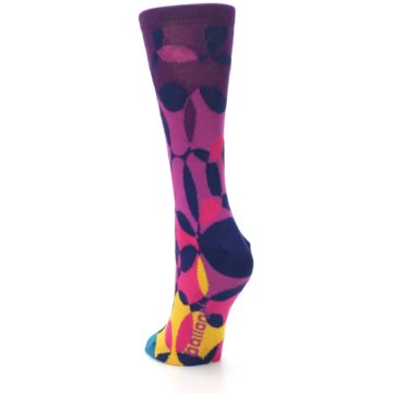 Image of Purple Gold Teal Overlapping Circles Women's Dress Socks (side-2-back-16)