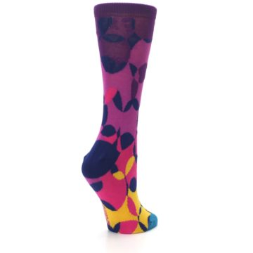 Image of Purple Gold Teal Overlapping Circles Women's Dress Socks (side-1-back-22)