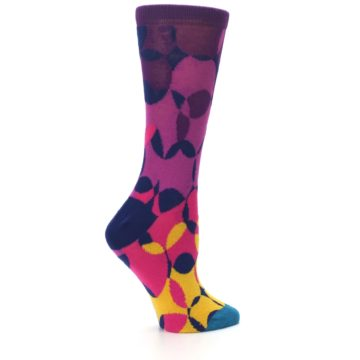 Image of Purple Gold Teal Overlapping Circles Women's Dress Socks (side-1-24)