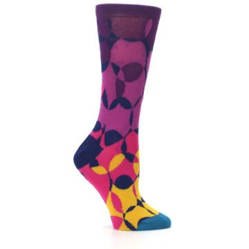 Image of Purple Gold Teal Overlapping Circles Women's Dress Socks (side-1-25)