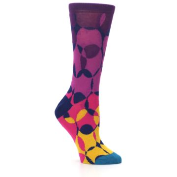 Image of Purple Gold Teal Overlapping Circles Women's Dress Socks (side-1-26)