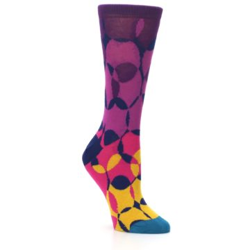 Image of Purple Gold Teal Overlapping Circles Women's Dress Socks (side-1-27)
