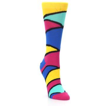 Image of Yellow Pink Blue Stripe Women's Dress Socks (side-1-front-02)