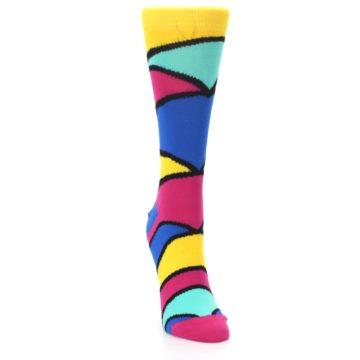 Image of Yellow Pink Blue Stripe Women's Dress Socks (side-1-front-03)