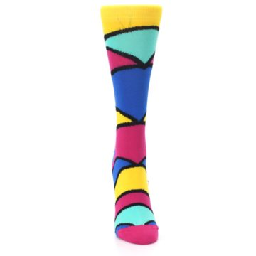 Image of Yellow Pink Blue Stripe Women's Dress Socks (front-04)