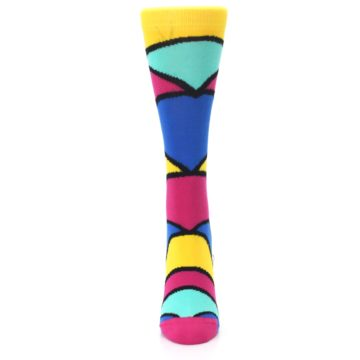 Image of Yellow Pink Blue Stripe Women's Dress Socks (front-05)