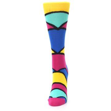 Image of Yellow Pink Blue Stripe Women's Dress Socks (side-2-front-06)