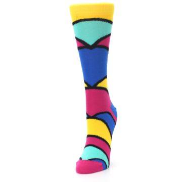 Image of Yellow Pink Blue Stripe Women's Dress Socks (side-2-front-07)