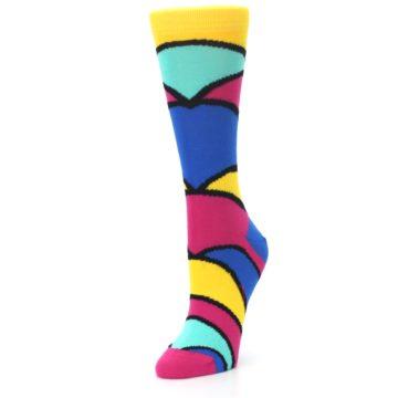 Image of Yellow Pink Blue Stripe Women's Dress Socks (side-2-front-08)