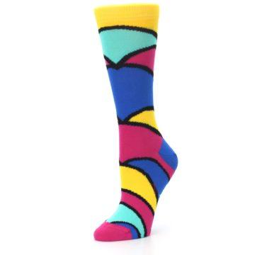Image of Yellow Pink Blue Stripe Women's Dress Socks (side-2-09)