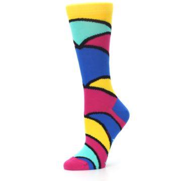 Image of Yellow Pink Blue Stripe Women's Dress Socks (side-2-10)