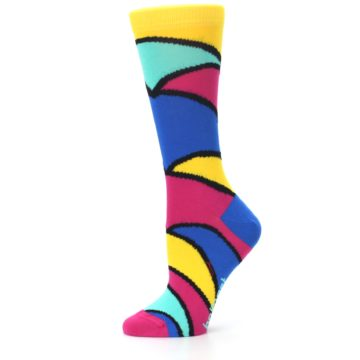 Image of Yellow Pink Blue Stripe Women's Dress Socks (side-2-11)