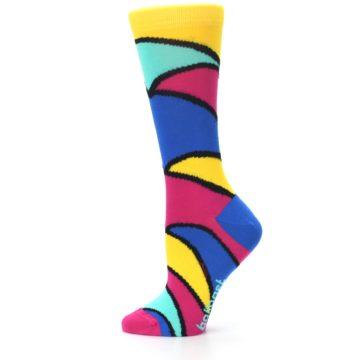 Image of Yellow Pink Blue Stripe Women's Dress Socks (side-2-12)