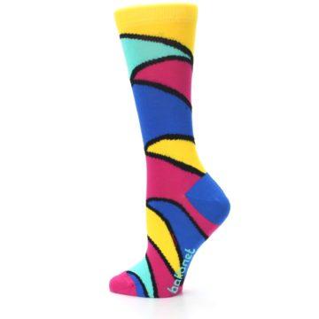 Image of Yellow Pink Blue Stripe Women's Dress Socks (side-2-13)