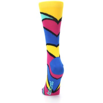 Image of Yellow Pink Blue Stripe Women's Dress Socks (back-17)