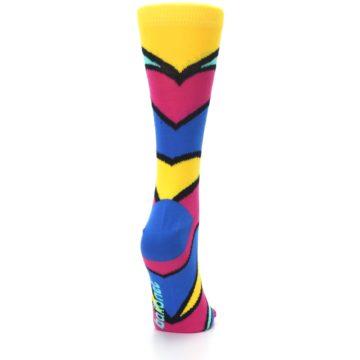 Image of Yellow Pink Blue Stripe Women's Dress Socks (side-1-back-20)