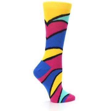 Image of Yellow Pink Blue Stripe Women's Dress Socks (side-1-24)