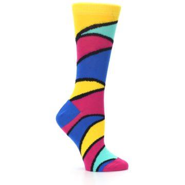 Image of Yellow Pink Blue Stripe Women's Dress Socks (side-1-25)