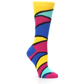 Image of Yellow Pink Blue Stripe Women's Dress Socks (side-1-26)