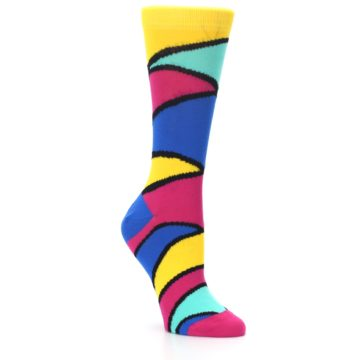 Image of Yellow Pink Blue Stripe Women's Dress Socks (side-1-27)