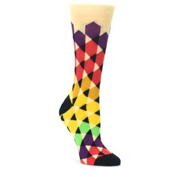 Multi-Color-Triangles-Womens-Dress-Socks-Ballonet-Socks