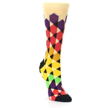 Image of Multi-Color Triangles Women's Dress Socks (side-1-front-02)