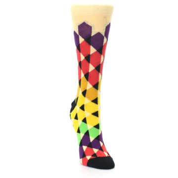 Image of Multi-Color Triangles Women's Dress Socks (side-1-front-03)