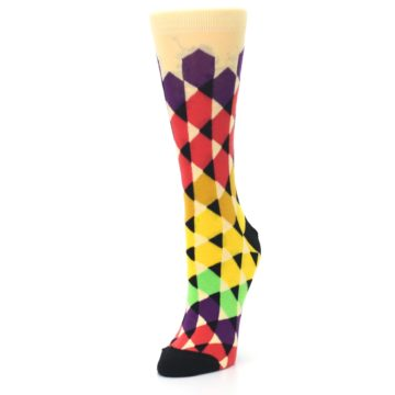 Image of Multi-Color Triangles Women's Dress Socks (side-2-front-08)