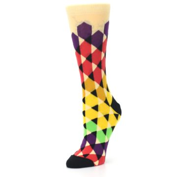 Image of Multi-Color Triangles Women's Dress Socks (side-2-09)