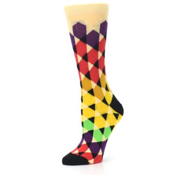 Image of Multi-Color Triangles Women's Dress Socks (side-2-10)