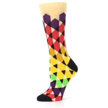 Image of Multi-Color Triangles Women's Dress Socks (side-2-11)