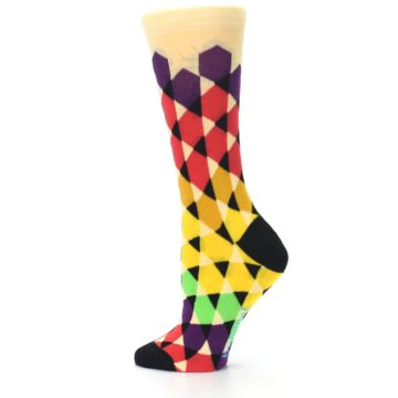 Image of Multi-Color Triangles Women's Dress Socks (side-2-13)