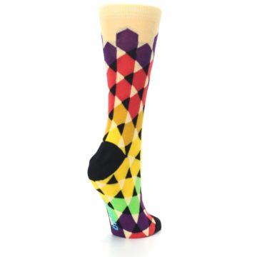 Image of Multi-Color Triangles Women's Dress Socks (side-1-back-22)