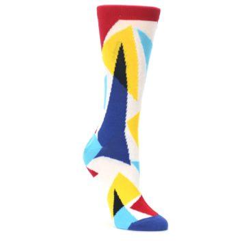 Red-Yellow-Blue-Triangles-Womens-Dress-Socks-Ballonet-Socks
