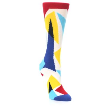 Image of Red Yellow Blue Triangles Women's Dress Socks (side-1-front-02)