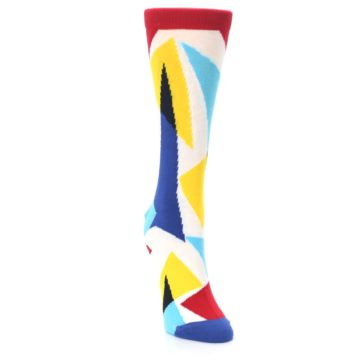 Image of Red Yellow Blue Triangles Women's Dress Socks (side-1-front-03)
