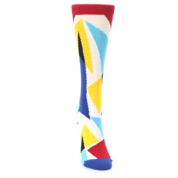 Image of Red Yellow Blue Triangles Women's Dress Socks (front-04)
