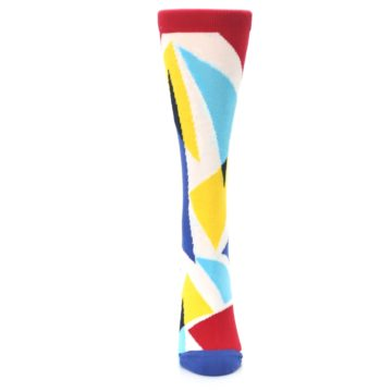 Image of Red Yellow Blue Triangles Women's Dress Socks (front-05)