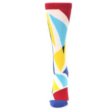 Image of Red Yellow Blue Triangles Women's Dress Socks (side-2-front-06)