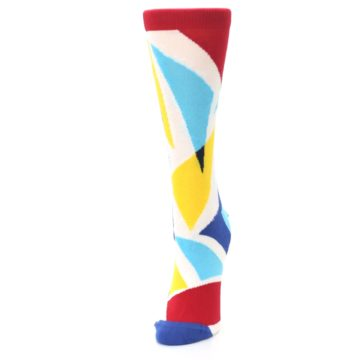 Image of Red Yellow Blue Triangles Women's Dress Socks (side-2-front-07)