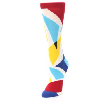 Image of Red Yellow Blue Triangles Women's Dress Socks (side-2-front-08)