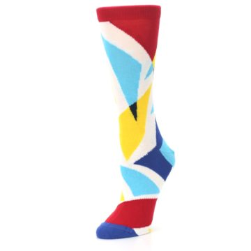 Image of Red Yellow Blue Triangles Women's Dress Socks (side-2-09)