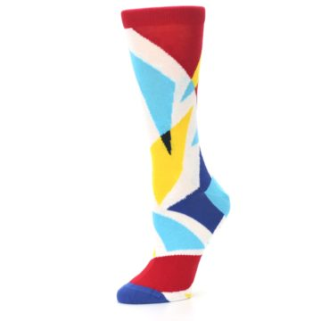 Image of Red Yellow Blue Triangles Women's Dress Socks (side-2-10)