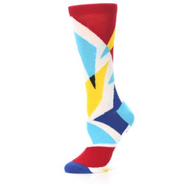 Image of Red Yellow Blue Triangles Women's Dress Socks (side-2-11)