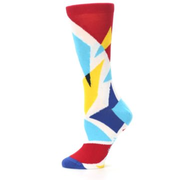 Image of Red Yellow Blue Triangles Women's Dress Socks (side-2-12)