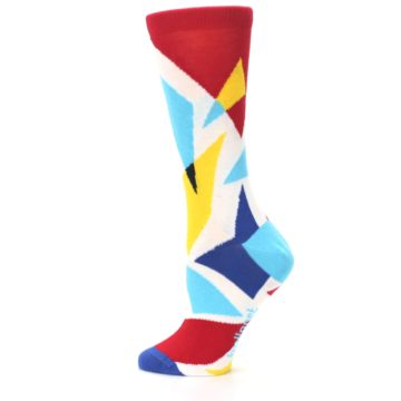 Image of Red Yellow Blue Triangles Women's Dress Socks (side-2-13)